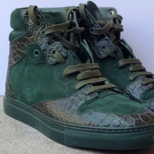 balenciaga leather and suede high top sneakers
